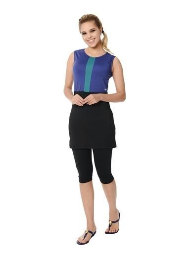 Elif İç Giyim Kadın Sıfır Kol Taytlı Yarı Kapalı Tesettür Mayo Siyah